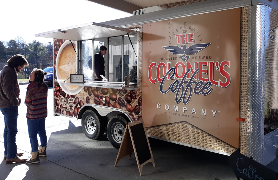 Students at The Colonel's Coffee Company Trailer